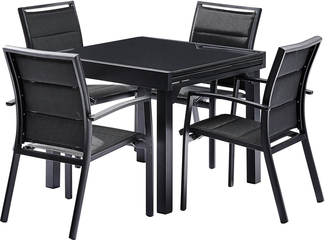 Salon de jardin moderne 4 personnes modulo noir for Table 30 personnes