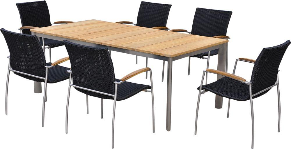 Salon de jardin table et 6 fauteuils acier bross et teck melbourne - Table de jardin aluminium brosse ...