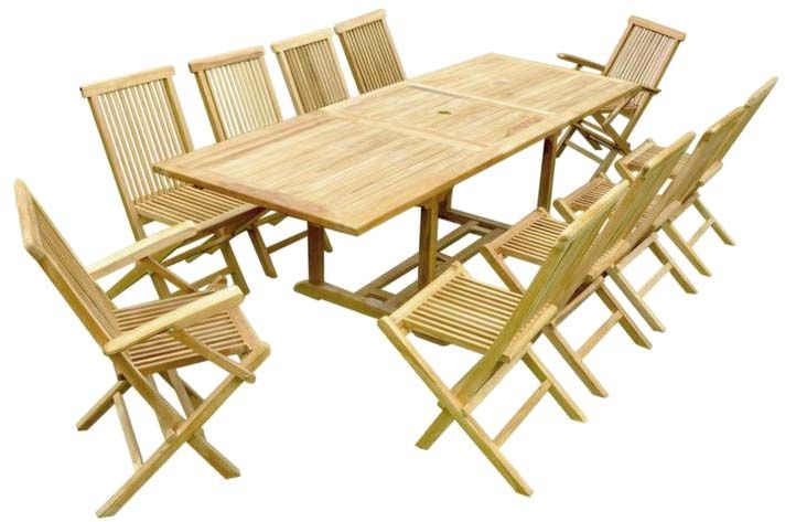 Salon de jardin teck table rallonge - Table teck avec rallonges ...