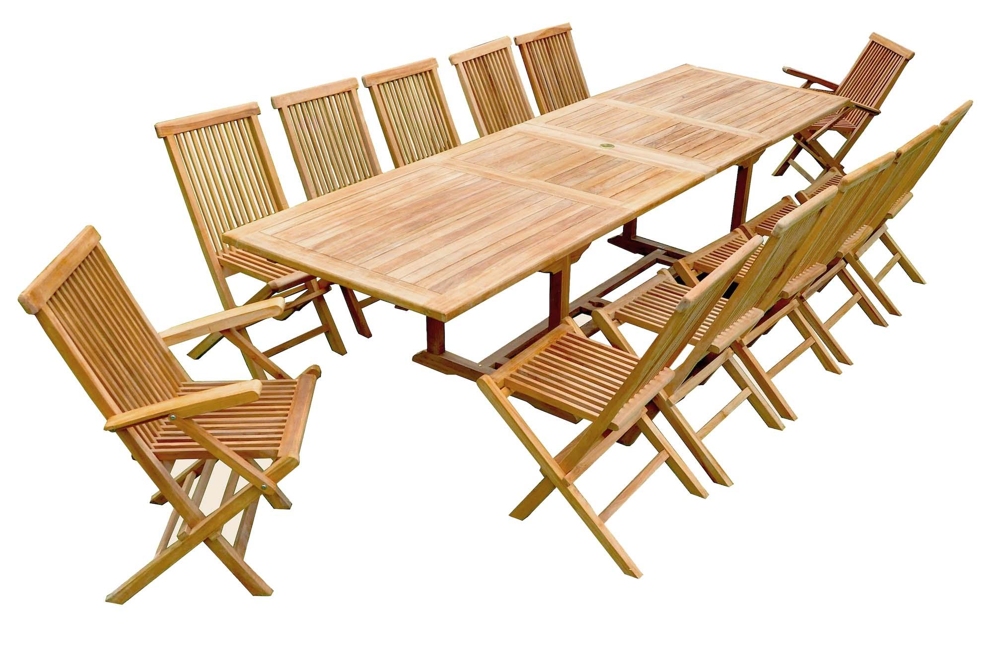 salon de jardin teck table rallonge 10 chaises 2 fauteuils. Black Bedroom Furniture Sets. Home Design Ideas