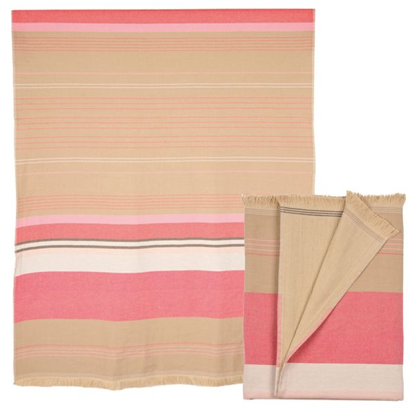 Serviette Fouta reversible en coton Briscous Rose