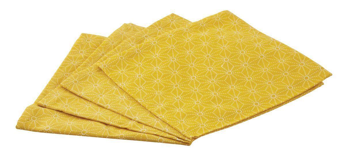 serviette de table en coton lot de 4 jaune. Black Bedroom Furniture Sets. Home Design Ideas