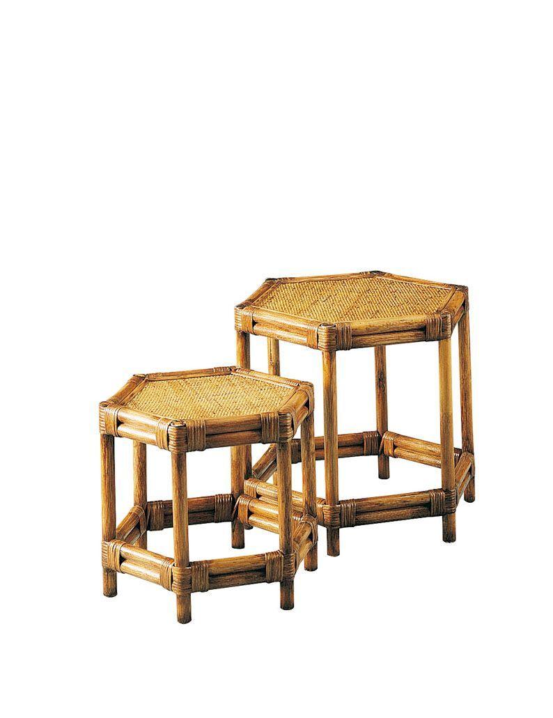 set 2 tables gigognes en rotin