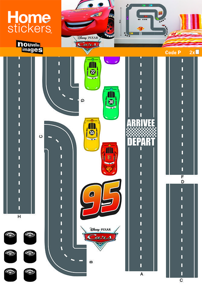 image_Sticker mural Cars circuit voiture