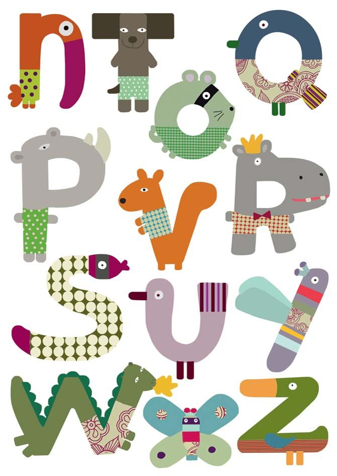 Sticker mural alphabet animaux-2