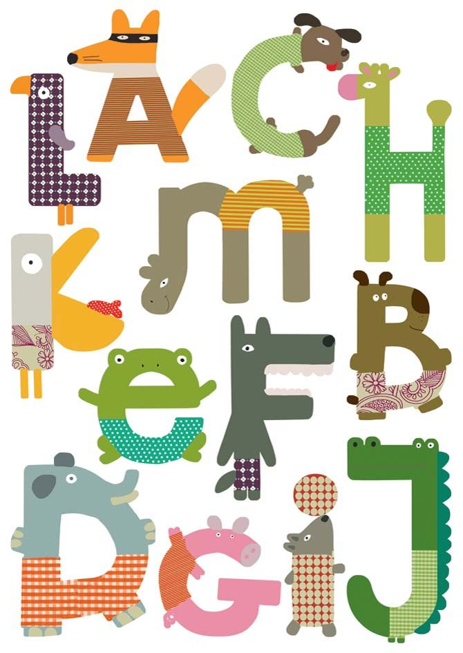 Sticker mural alphabet animaux-1