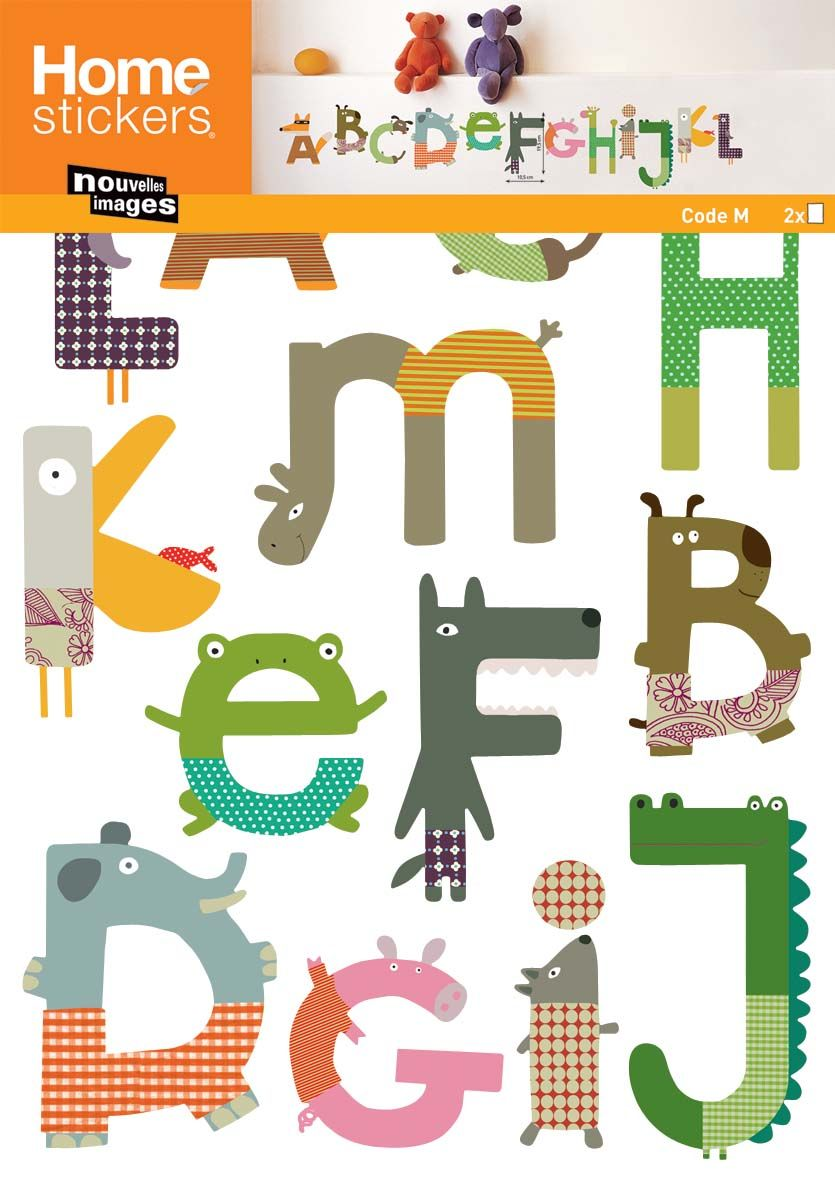 Sticker mural alphabet animaux