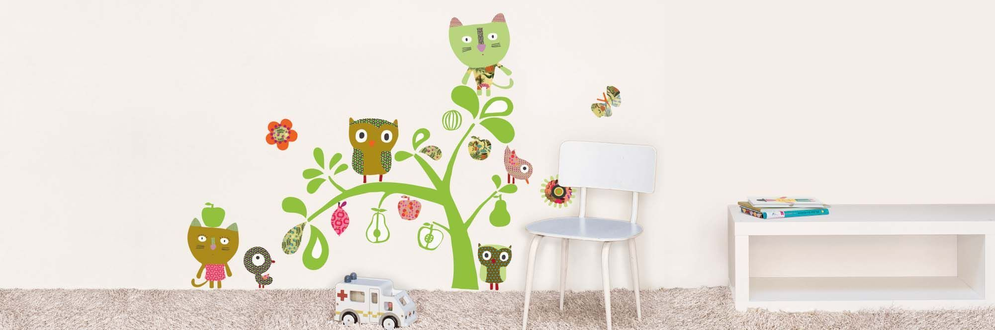 Sticker mural chat et hibou-3
