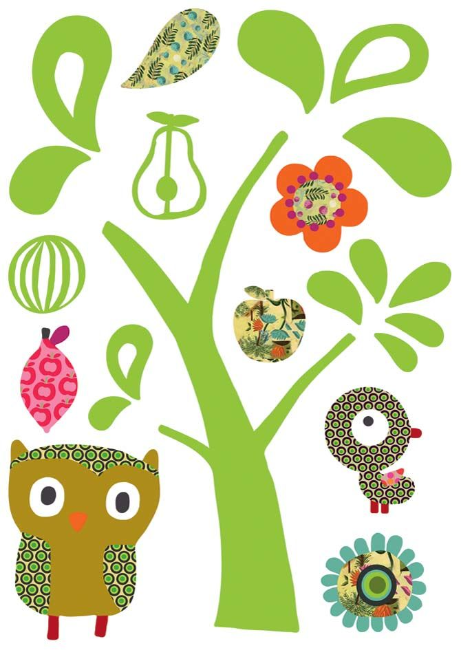 Sticker mural chat et hibou-2
