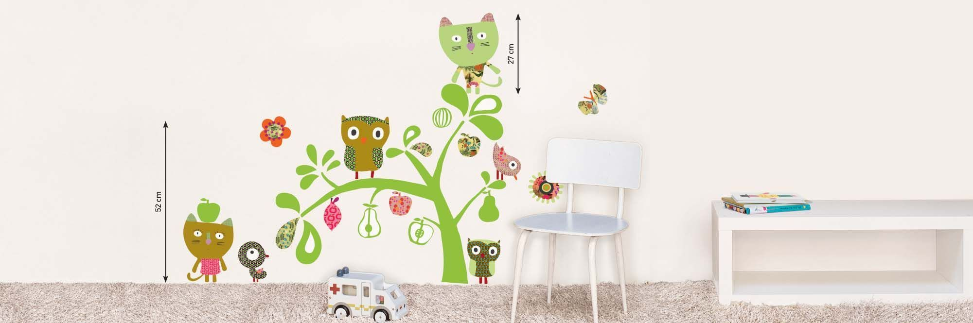Sticker mural chat et hibou-1