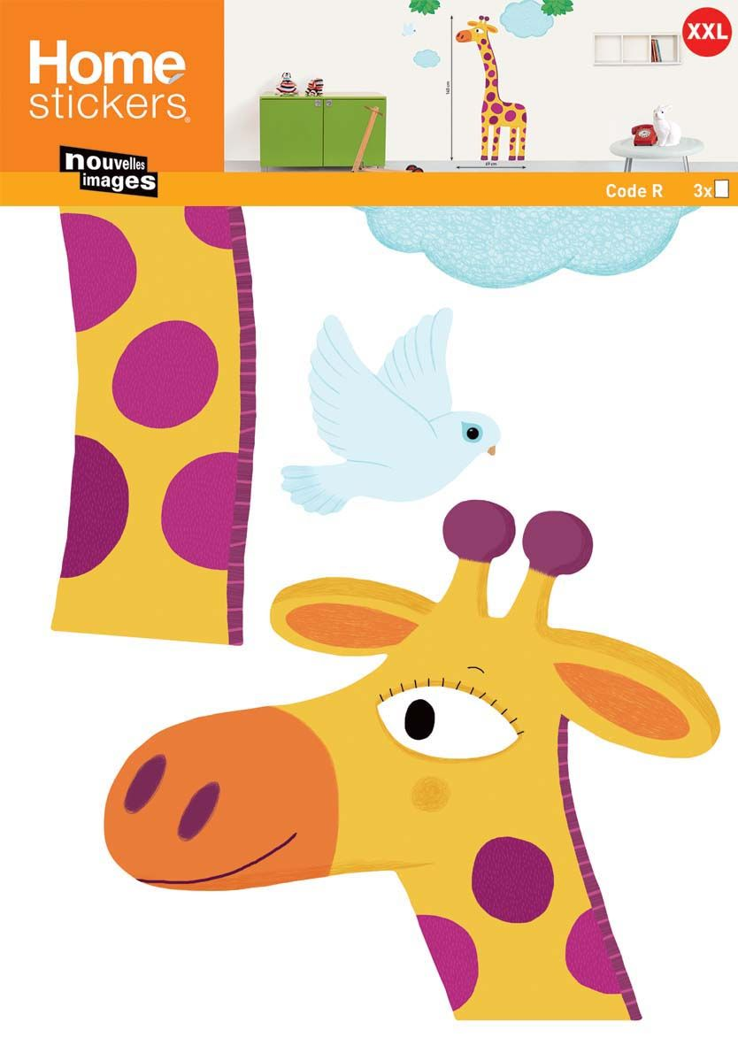 Sticker mural girafe grande taille XXL by Nouvelles images