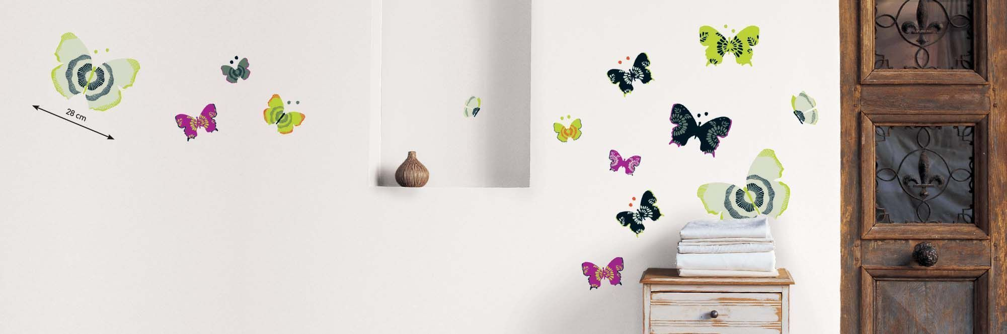 sticker mural papillon. Black Bedroom Furniture Sets. Home Design Ideas
