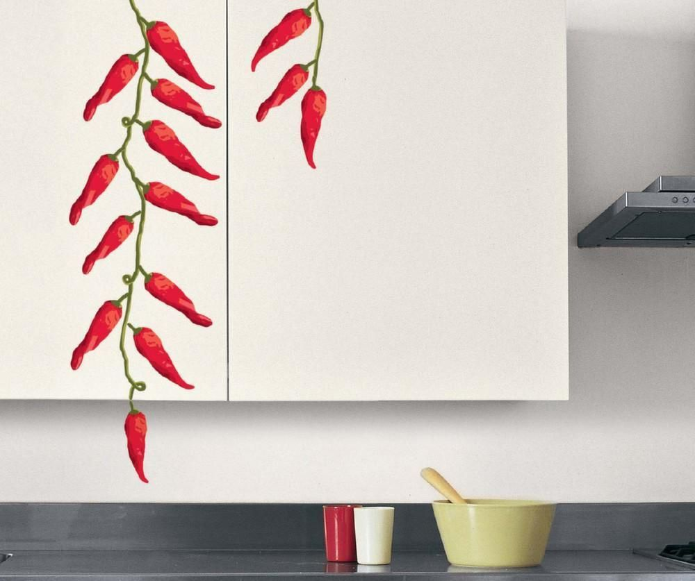 Sticker mural piment rouge cuisine-2