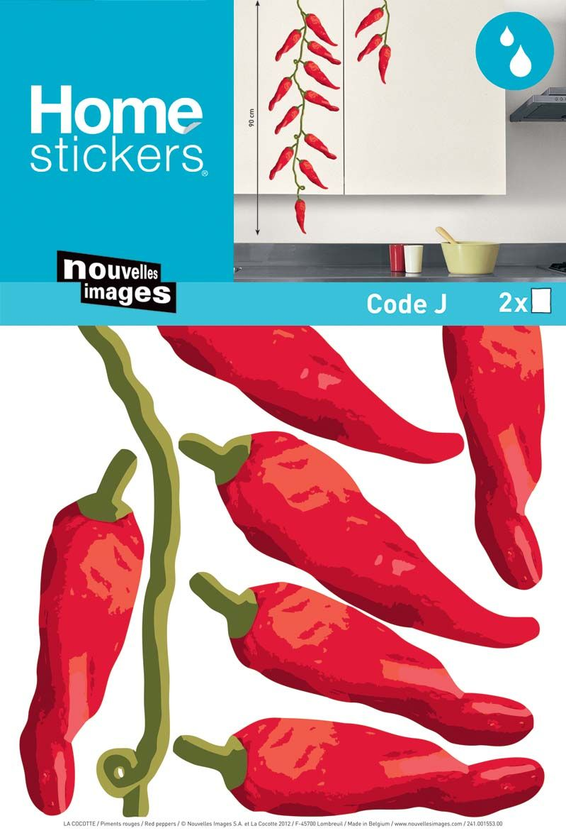 Sticker mural piment rouge cuisine for Stickers pour cuisine rouge