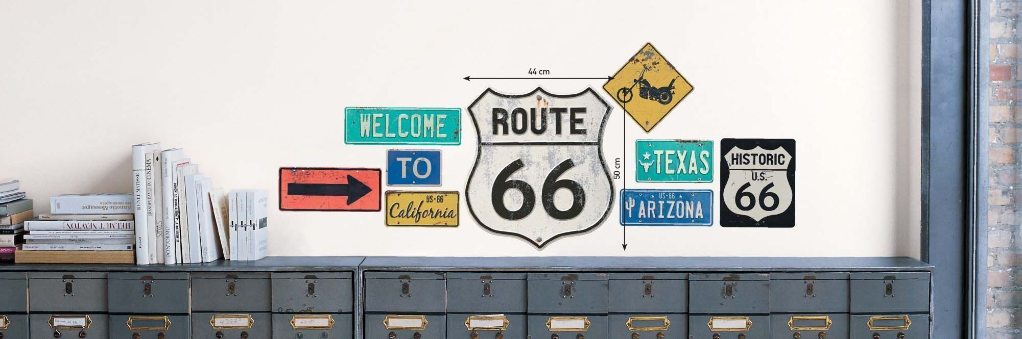 Sticker mural route 66 panneau for Route 66 mural