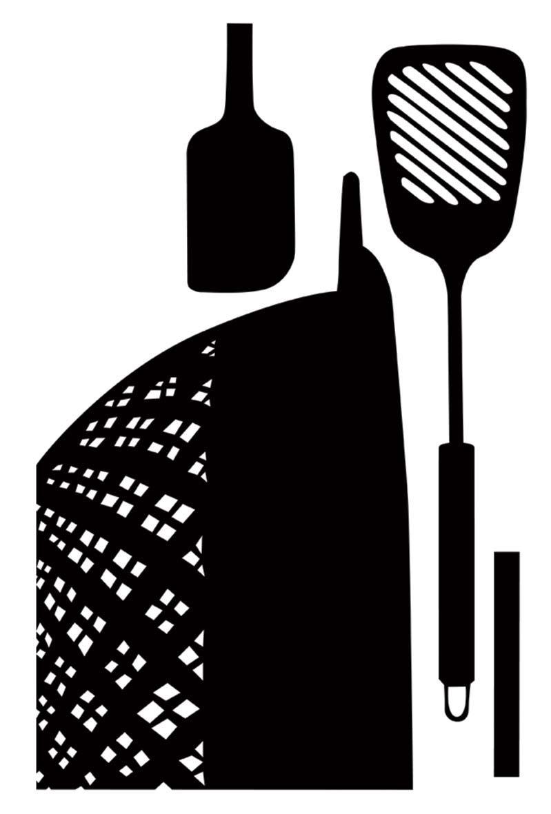 sticker mural ustensiles de cuisine. Black Bedroom Furniture Sets. Home Design Ideas