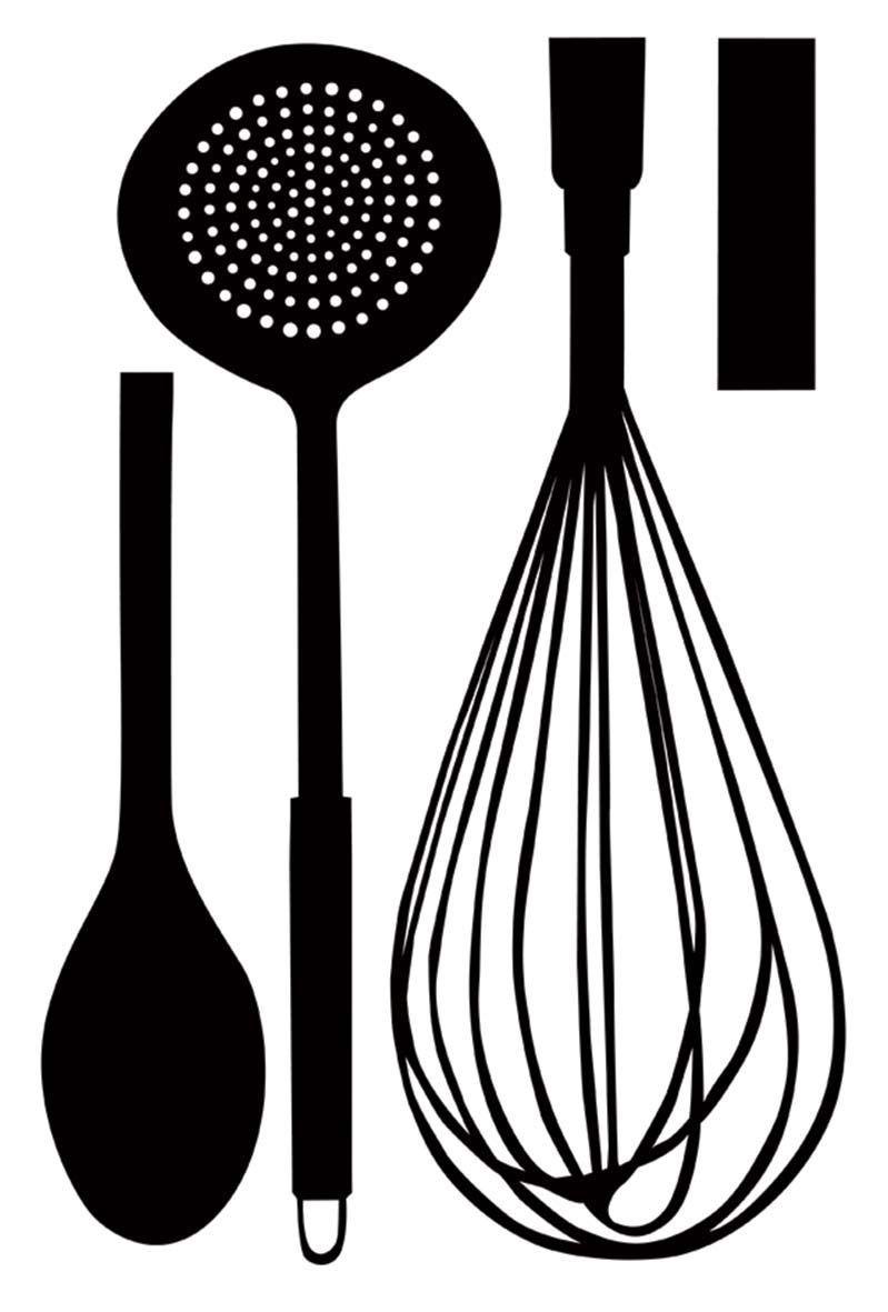 Sticker mural ustensiles de cuisine for Stickers de cuisine