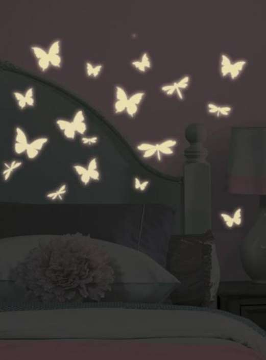 Stickers phosphorescents papillons & libellules-1