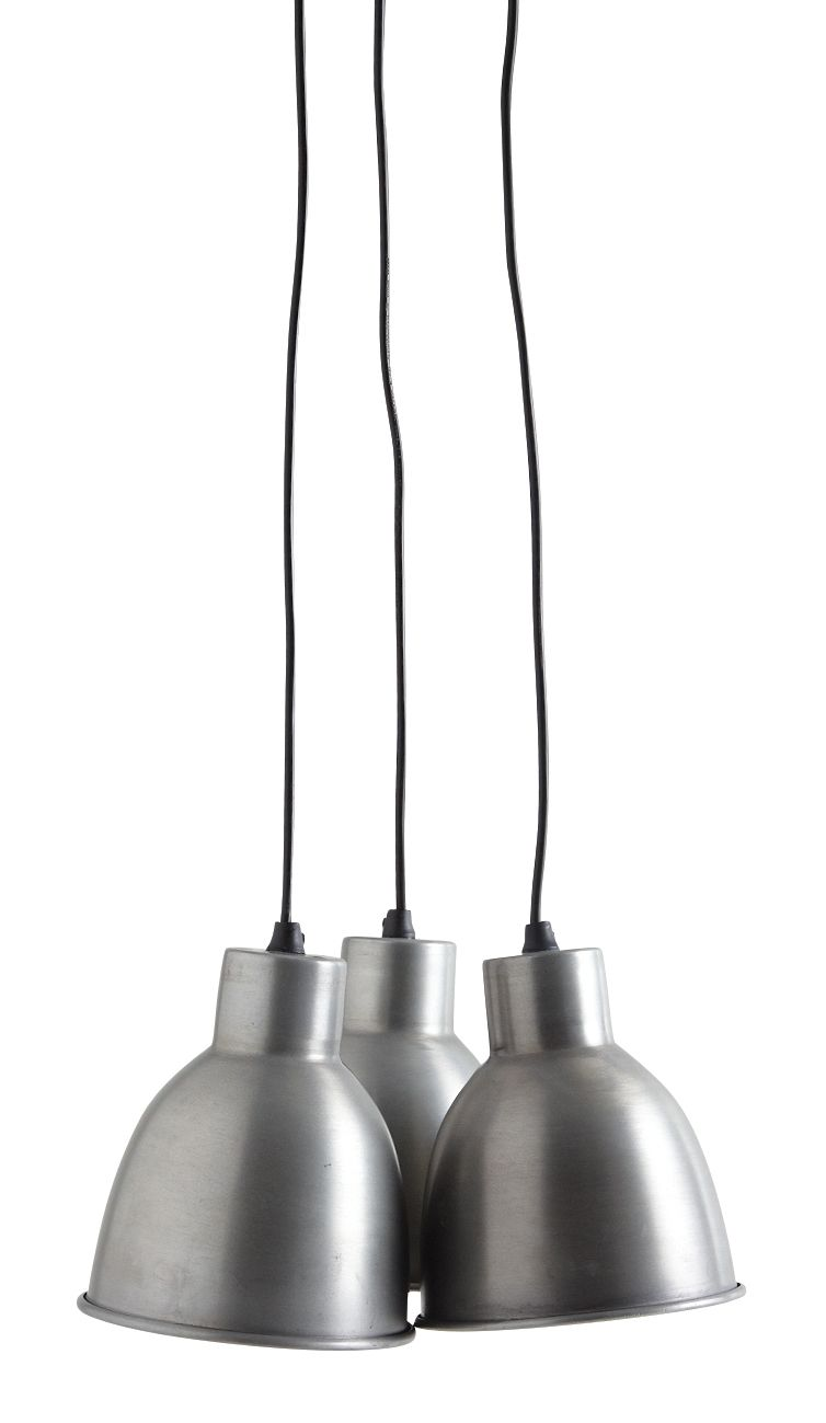 Suspension 3 lampes en zinc for Suspension luminaire 3 lampes