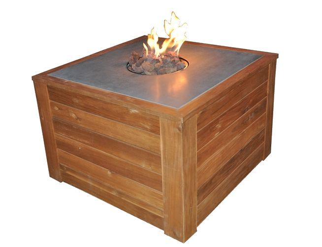 Table basse feu follet en acacia coloris teck 80x80x50cm