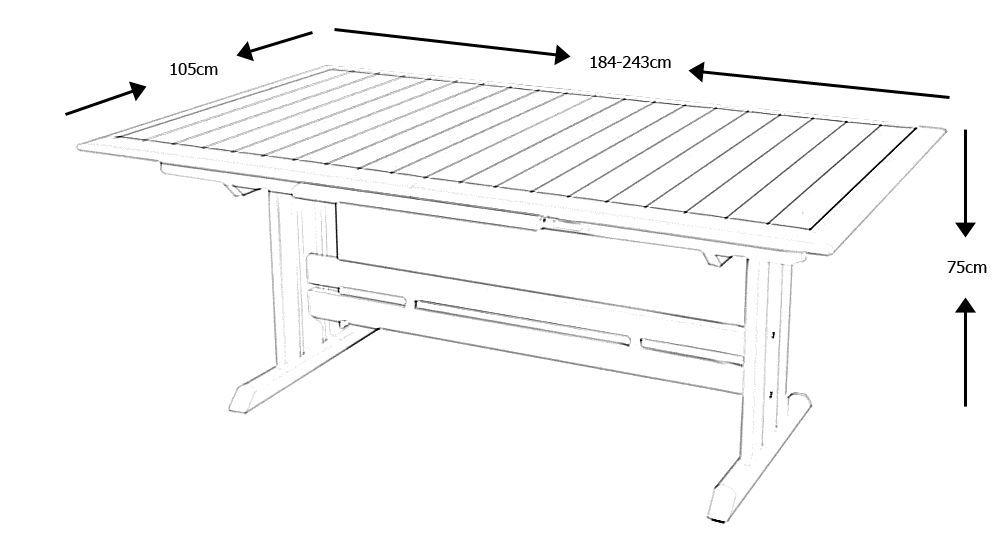 Table Extensible Hegoa Ouverture Automatique 184 243x105x75cm Haut De Gamme Les Jardins Au