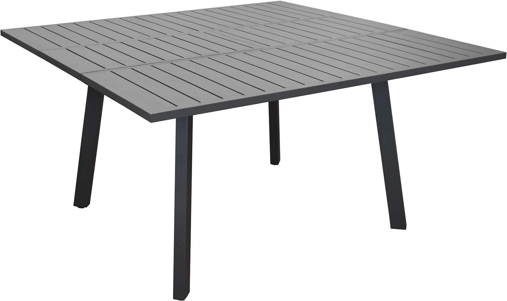 table en aluminium avec allonge barcelona 145 cm gris. Black Bedroom Furniture Sets. Home Design Ideas