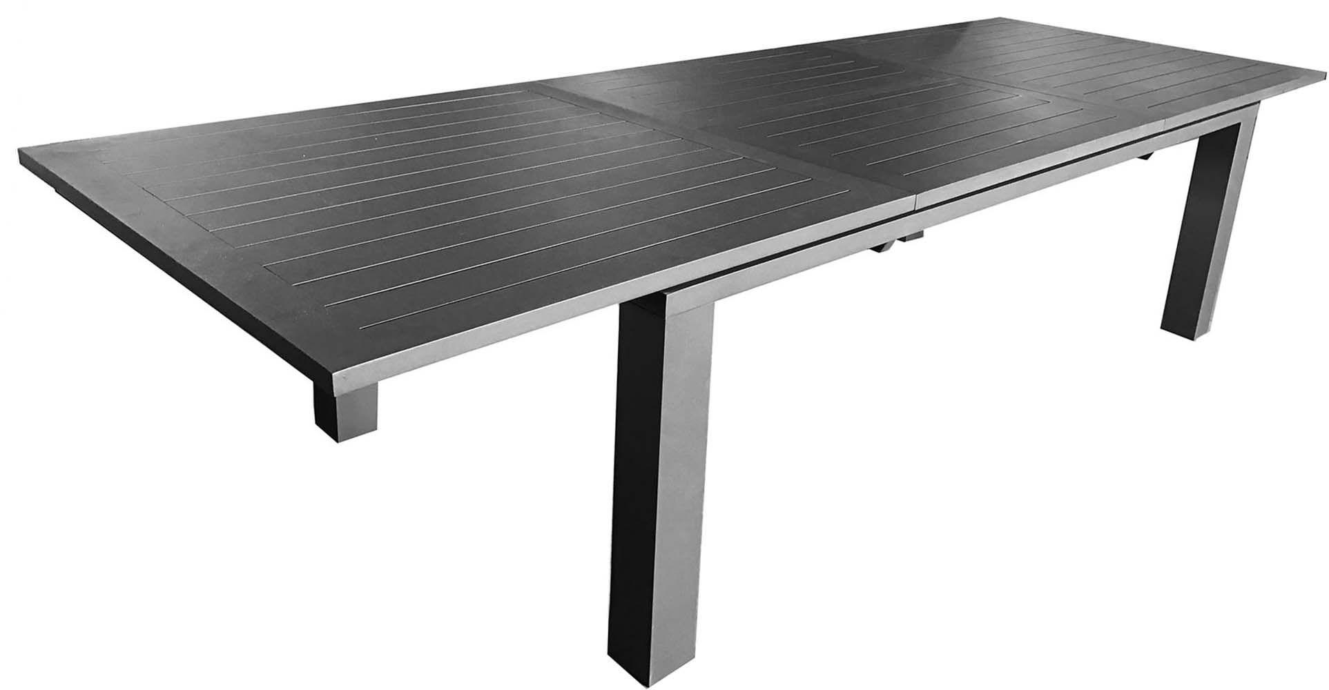 table en aluminium avec allonge elisa 240 cm gris. Black Bedroom Furniture Sets. Home Design Ideas