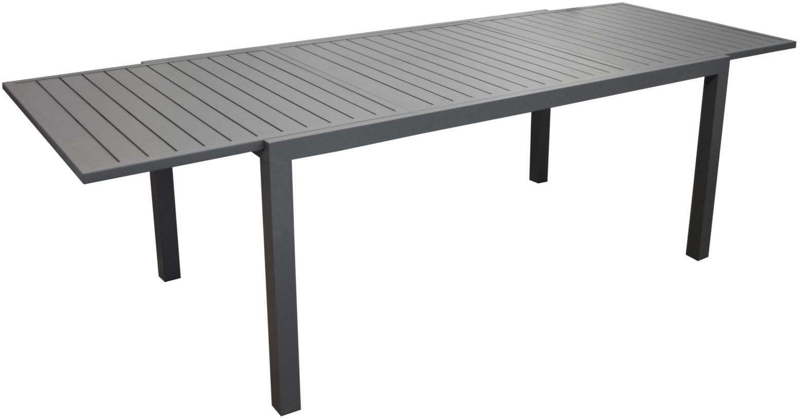 table en aluminium avec allonge solem 268 cm gris. Black Bedroom Furniture Sets. Home Design Ideas