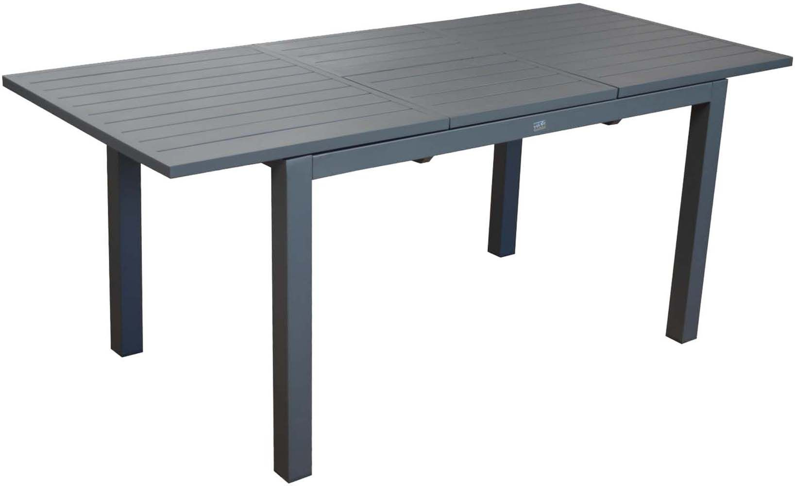 table en aluminium avec allonge trieste 180 cm gris. Black Bedroom Furniture Sets. Home Design Ideas