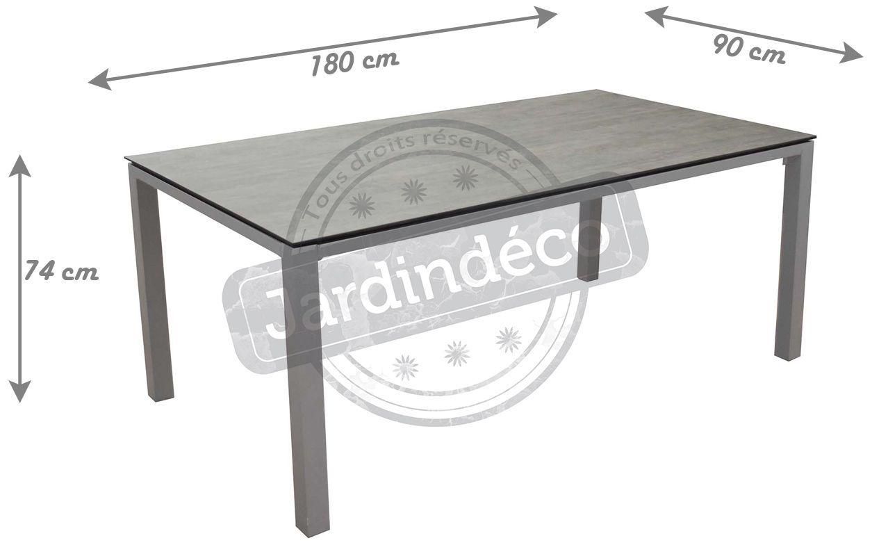 Table en aluminium et plateau trespa stoneo 180 cm taupe for Plateau table 180