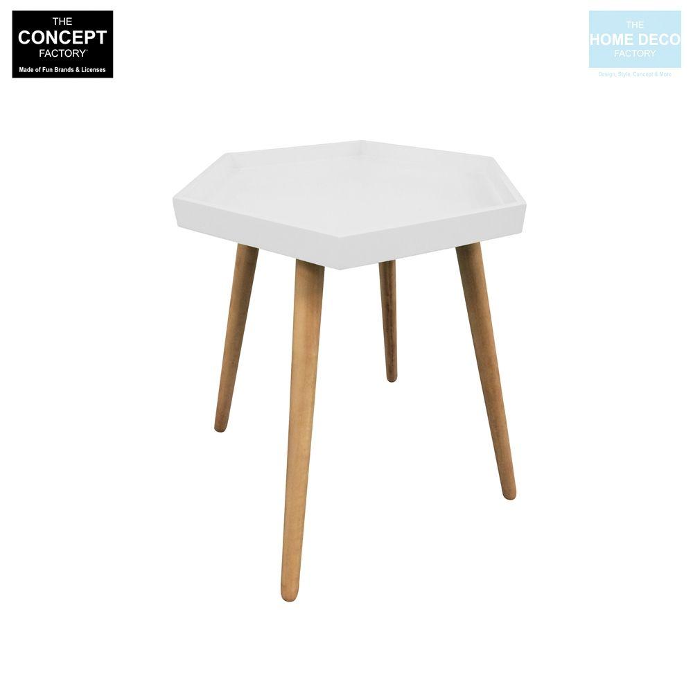 table d 39 appoint hexagonale en mdf blanc. Black Bedroom Furniture Sets. Home Design Ideas
