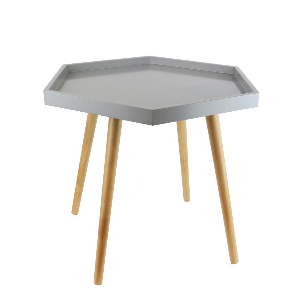 Table d 39 appoint hexagonale en mdf for Table d appoint miroir