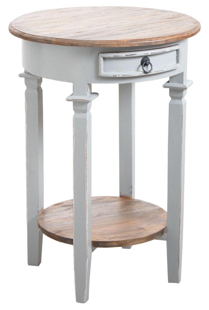 Table d 39 appoint ronde en bois gris for Table appoint salon