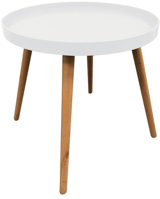 table d 39 appoint ronde avec plateau blanc. Black Bedroom Furniture Sets. Home Design Ideas