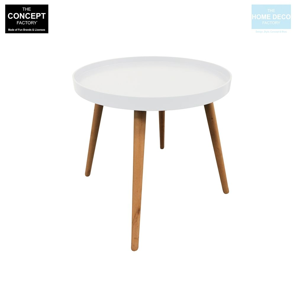 Table d 39 appoint ronde avec plateau for Table ronde blanc