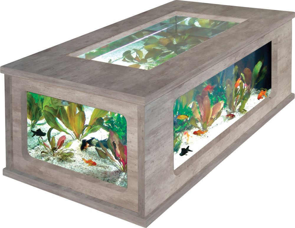 Table basse aquarium imitation b ton cir - Table basse imitation beton ...