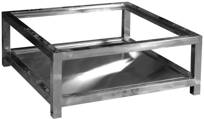 Table basse en aluminium et verre manathan for Table vue de haut