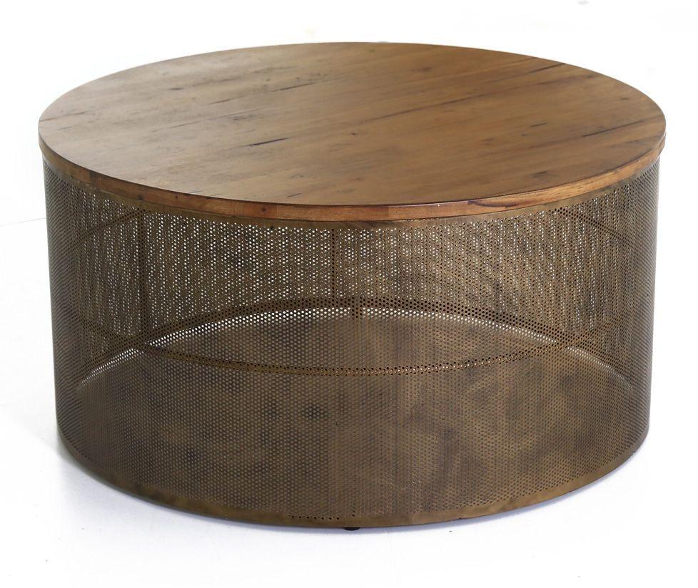 Table basse mesh en acier et bois