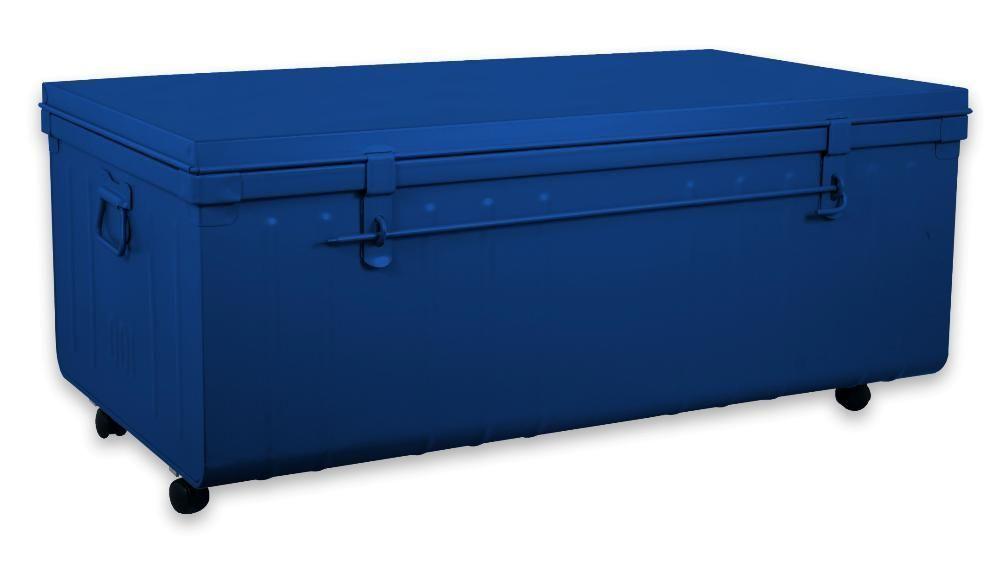 table basse malle en m tal bleu primaire. Black Bedroom Furniture Sets. Home Design Ideas