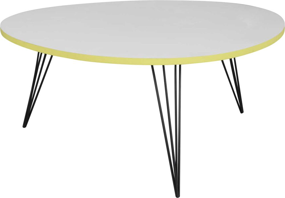 image_Table basse ronde blanche et jaune