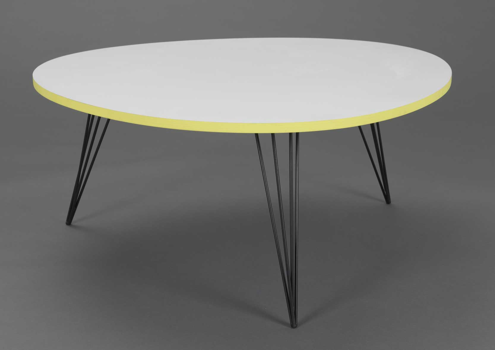 Table basse ronde blanche et jaune - Table basse blanche ronde ...