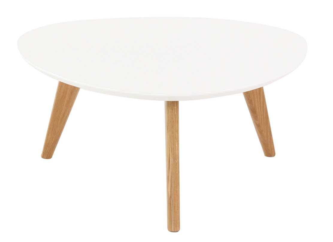 Table basse scandinave triangle for Table basse ronde blanc
