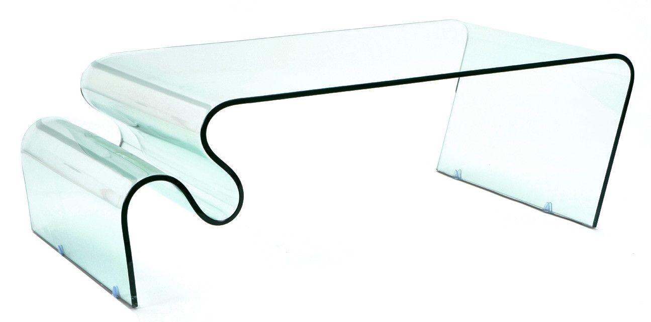 Table basse en verre zigzag - Table en verre de salon ...
