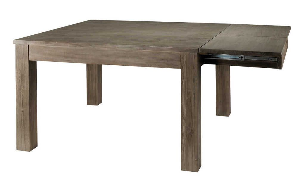 Table carr e en teck gris 120cm avec allonge 45cm - Table teck carree ...