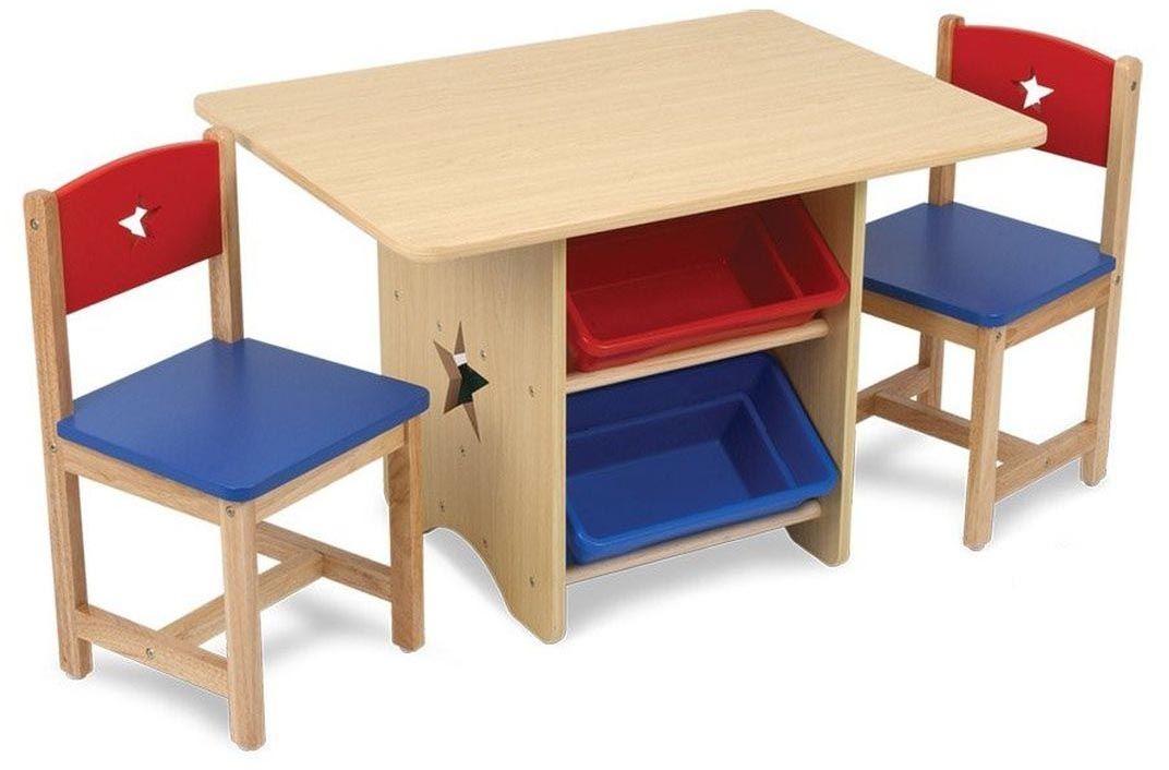 Table Chaises Et Bac Rangement Enfant En Bois