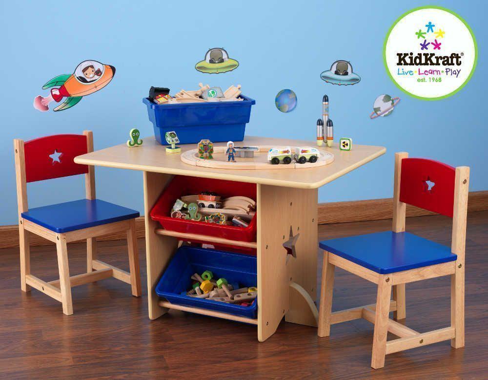 Kidcraft Train Table Table, chaises et bac rangement enfant en bois