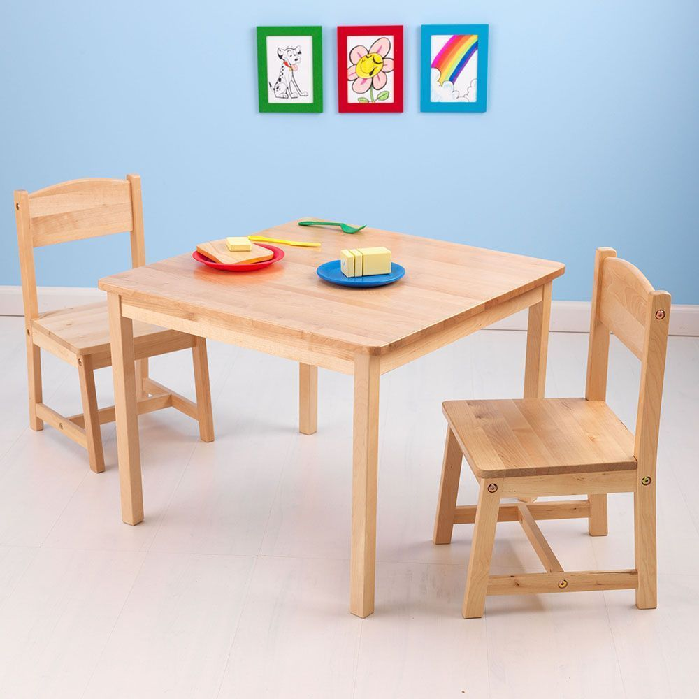 table et chaises enfant en bois bois clair. Black Bedroom Furniture Sets. Home Design Ideas