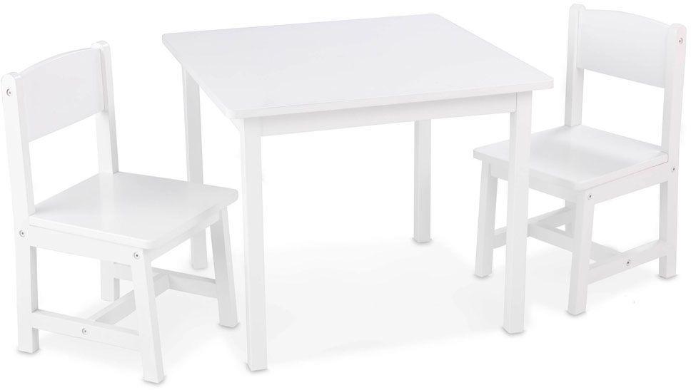 Table et chaises enfant en bois blanc for Table en bois et chaise