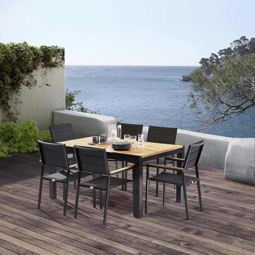 Table et chaises de jardin moderne bali 6 fauteuils - Deco de jardin moderne ...