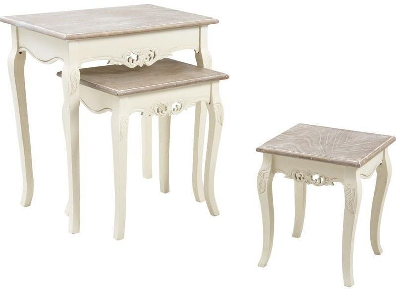 Table gigogne en paulownia - Table gigogne blanche ...
